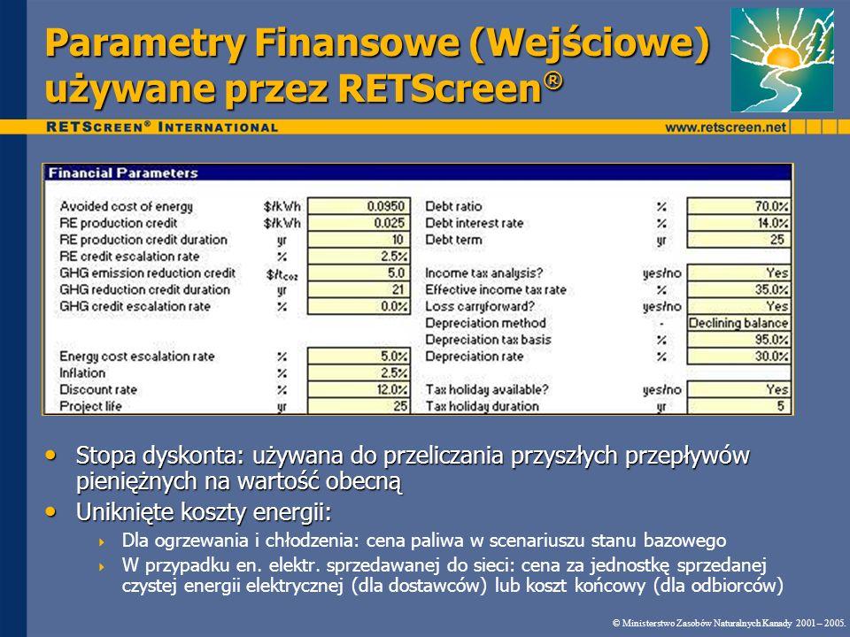 Parametry Finansowe (Wejściowe) używane przez RETScreen ® © Ministerstwo Zasobów Naturalnych Kanady 2001 – 2005. Stopa dyskonta: używana do przeliczan