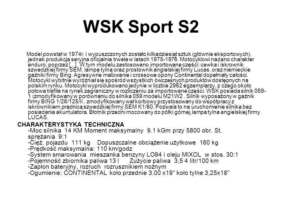 WSK Sport S2 Model powstał w 1974r. i wypuszczonych zostało kilkadziesiąt sztuk (głównie eksportowych), jednak produkcja seryjna oficjalnie trwała w l