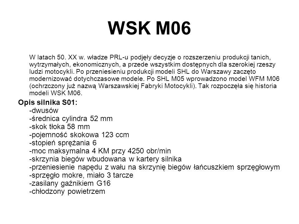 WSK M06 W latach 50. XX w. władze PRL-u podjęły decyzje o rozszerzeniu produkcji tanich, wytrzymałych, ekonomicznych, a przede wszystkim dostępnych dl