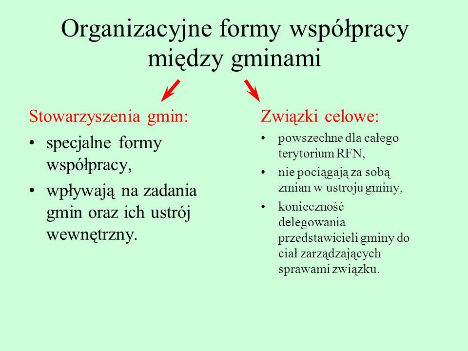Organizacyjne formy współpracy między gminami Stowarzyszenia gmin: specjalne formy współpracy, wpływają na zadania gmin oraz ich ustrój wewnętrzny. Zw