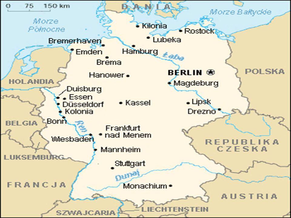 język urzędowy: niemiecki Stolica: Berlin Ustrój polityczny: republika federalna Głowa państwa: prezydent federalny Horst Köhler Szef rządu: kanclerz federalna Angela Merkel Powierzchnia: 357 050 km² Liczba ludności: 82 005 000 Gęstość zaludnienia: 229,7 osób/km² Jednostka monetarna: euro Domena internetowa:.de Kod telefoniczny: +49 Hymn państwowy: Das Lied der Deutschen Święto narodowe: 3 października, Dzień Jedności Niemiec