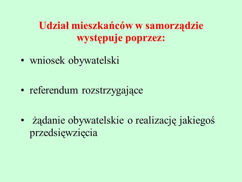 Udział mieszkańców w samorządzie występuje poprzez: wniosek obywatelski referendum rozstrzygające żądanie obywatelskie o realizację jakiegoś przedsięw