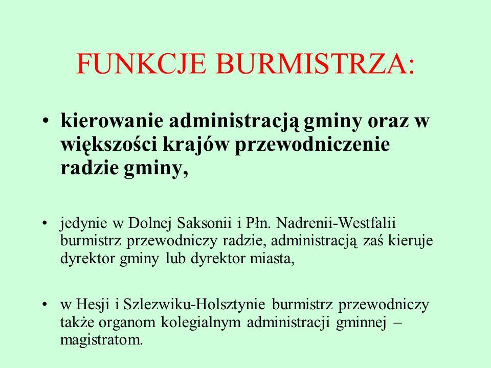 FUNKCJE BURMISTRZA: kierowanie administracją gminy oraz w większości krajów przewodniczenie radzie gminy, jedynie w Dolnej Saksonii i Płn. Nadrenii-We
