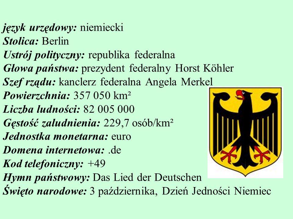 język urzędowy: niemiecki Stolica: Berlin Ustrój polityczny: republika federalna Głowa państwa: prezydent federalny Horst Köhler Szef rządu: kanclerz