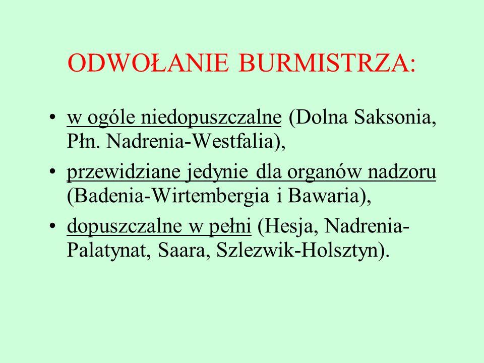 ODWOŁANIE BURMISTRZA: w ogóle niedopuszczalne (Dolna Saksonia, Płn. Nadrenia-Westfalia), przewidziane jedynie dla organów nadzoru (Badenia-Wirtembergi
