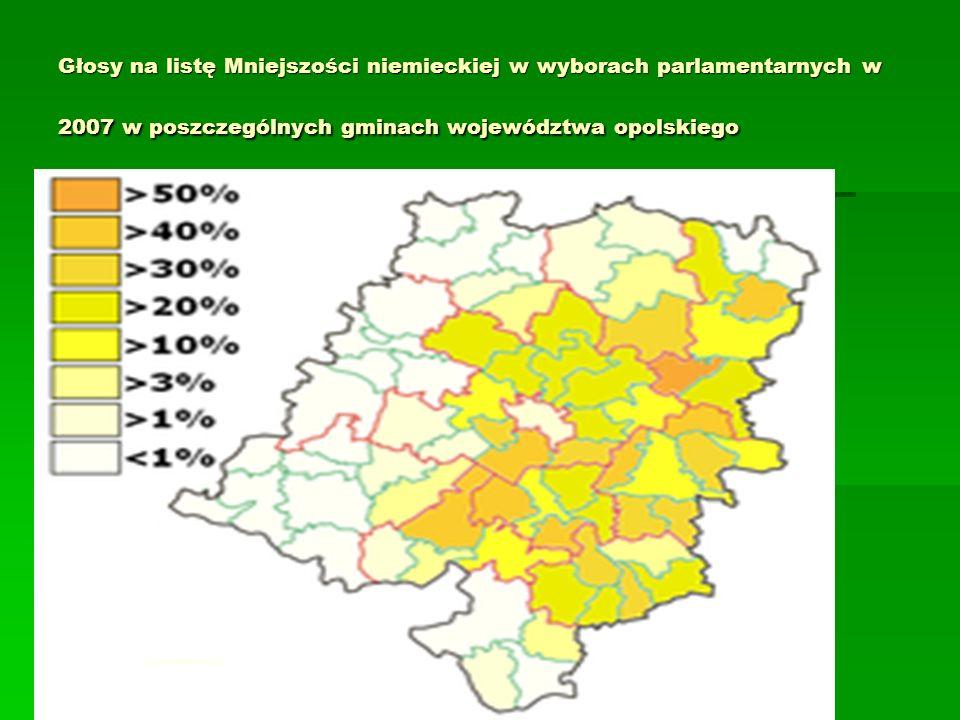 Głosy na listę Mniejszości niemieckiej w wyborach parlamentarnych w 2007 w poszczególnych gminach województwa opolskiego