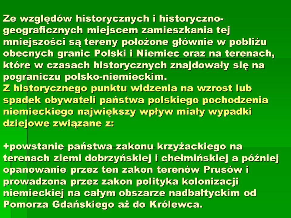 Ze względów historycznych i historyczno- geograficznych miejscem zamieszkania tej mniejszości są tereny położone głównie w pobliżu obecnych granic Polski i Niemiec oraz na terenach, które w czasach historycznych znajdowały się na pograniczu polsko-niemieckim.