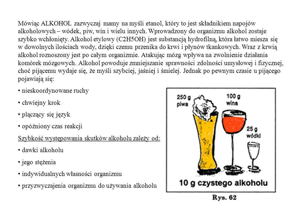 Mówiąc ALKOHOL zazwyczaj mamy na myśli etanol, który to jest składnikiem napojów alkoholowych – wódek, piw, win i wielu innych.
