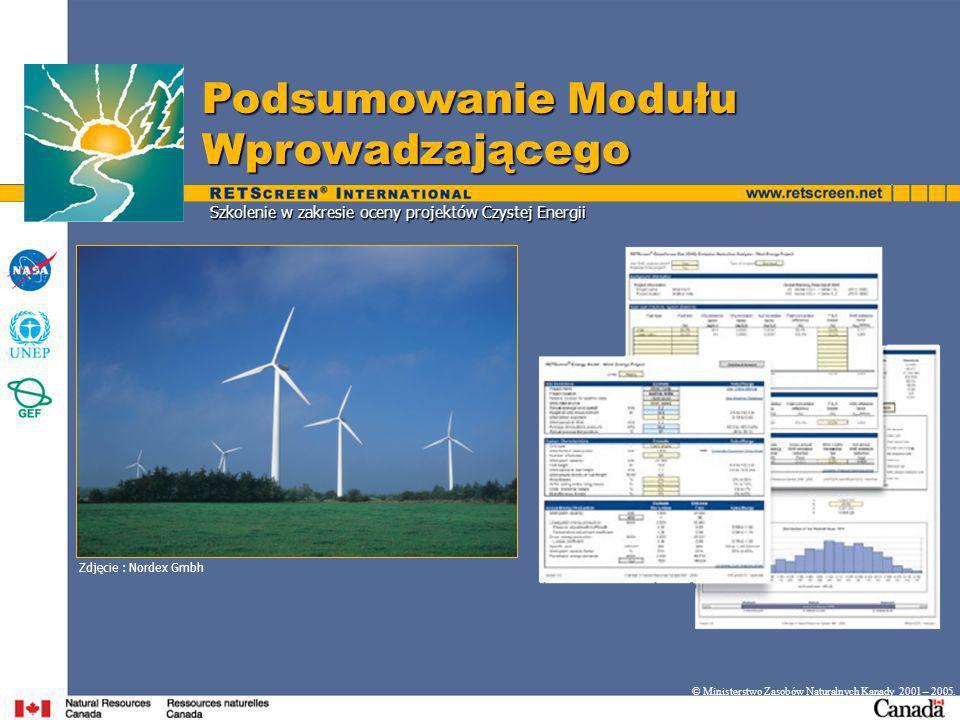 Szkolenie w zakresie oceny projektów Czystej Energii Podsumowanie Modułu Wprowadzającego © Ministerstwo Zasobów Naturalnych Kanady 2001 – 2005.