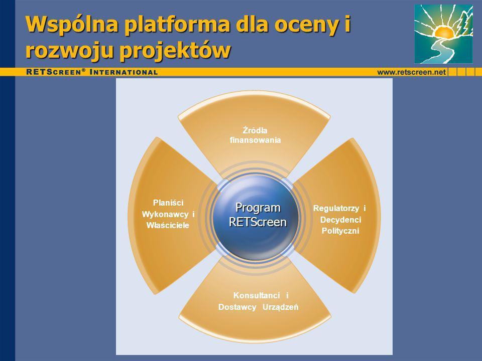 Wspólna platforma dla oceny i rozwoju projektów Planiści Wykonawcy i Właściciele Dostawcy Urządzeń Konsultanci i Regulatorzy i Decydenci Polityczni Źródła finansowania Program RETScreen