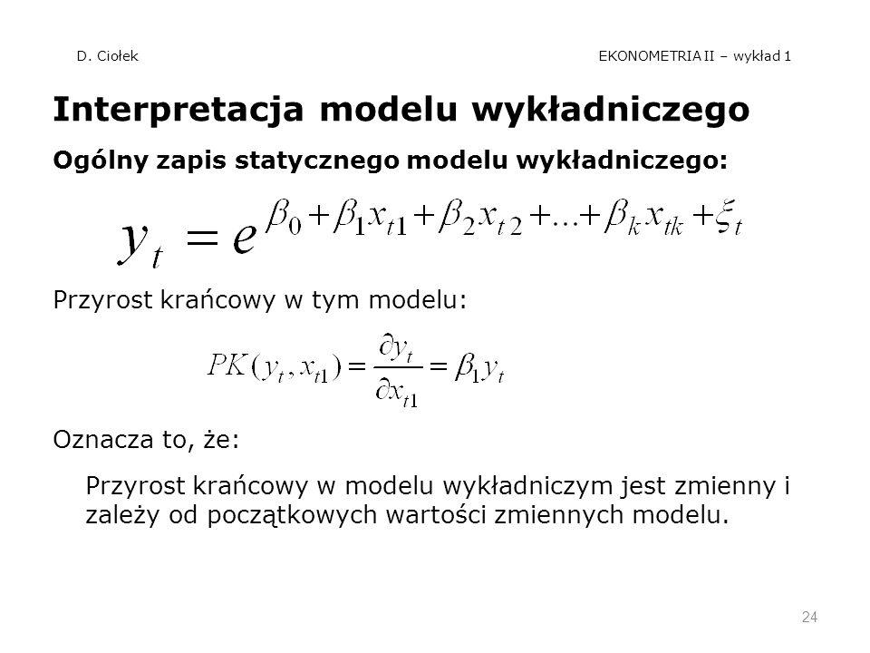 D. Ciołek EKONOMETRIA II – wykład 1 Interpretacja modelu wykładniczego Ogólny zapis statycznego modelu wykładniczego: Przyrost krańcowy w tym modelu: