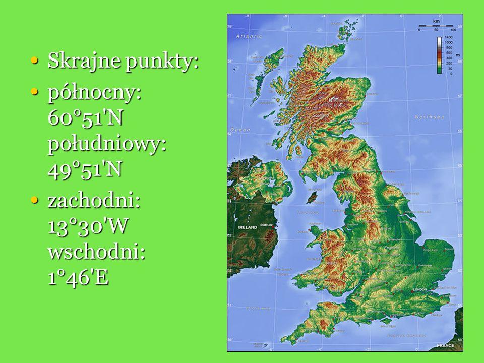 Skrajne punkty: Skrajne punkty: północny: 60°51'N południowy: 49°51'N północny: 60°51'N południowy: 49°51'N zachodni: 13°30'W wschodni: 1°46'E zachodn