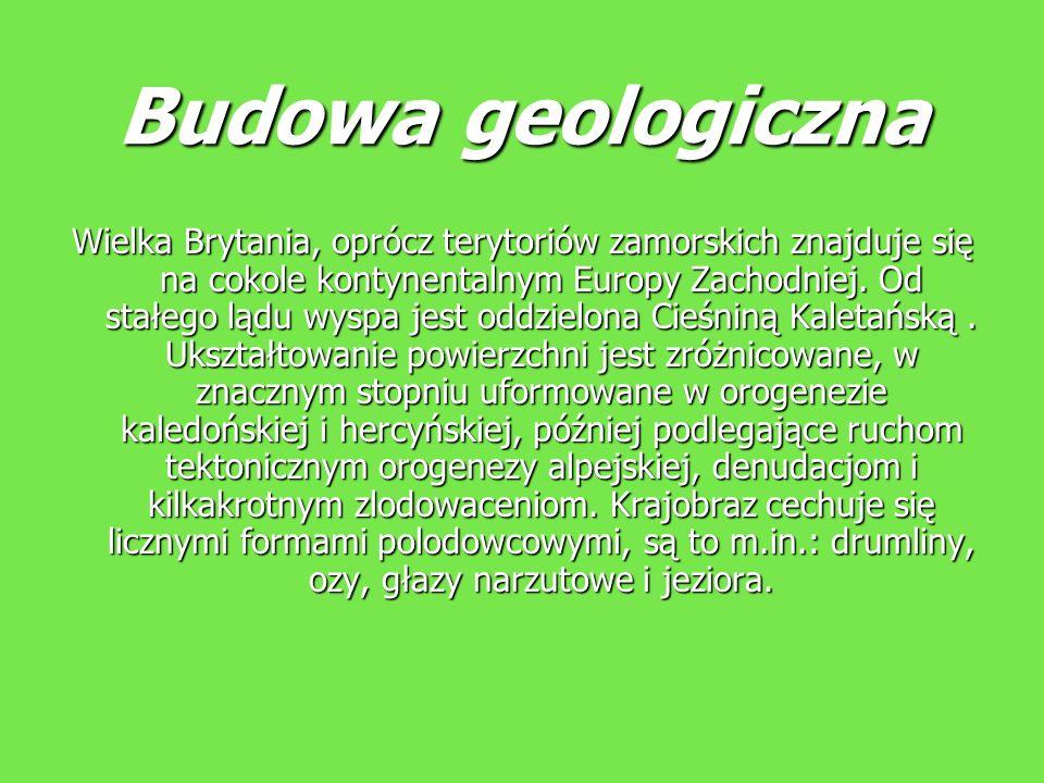 Budowa geologiczna Wielka Brytania, oprócz terytoriów zamorskich znajduje się na cokole kontynentalnym Europy Zachodniej. Od stałego lądu wyspa jest o