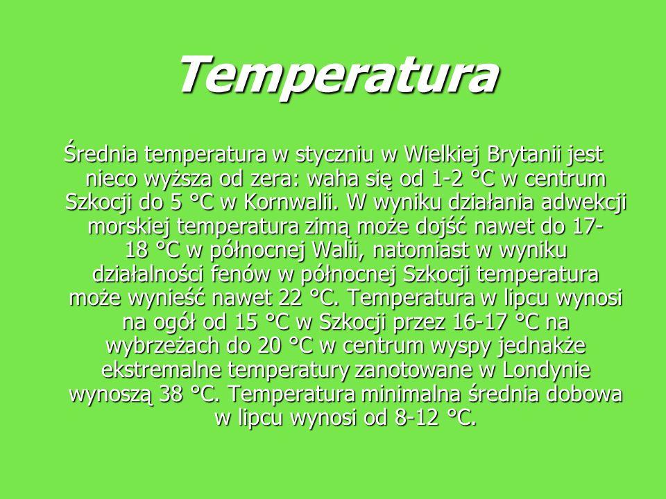 Temperatura Średnia temperatura w styczniu w Wielkiej Brytanii jest nieco wyższa od zera: waha się od 1-2 °C w centrum Szkocji do 5 °C w Kornwalii. W