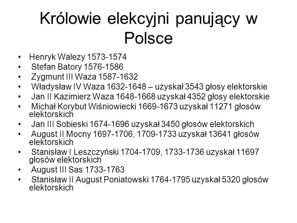 Królowie elekcyjni panujący w Polsce Henryk Walezy 1573-1574 Stefan Batory 1576-1586 Zygmunt III Waza 1587-1632 Władysław IV Waza 1632-1648 – uzyskał