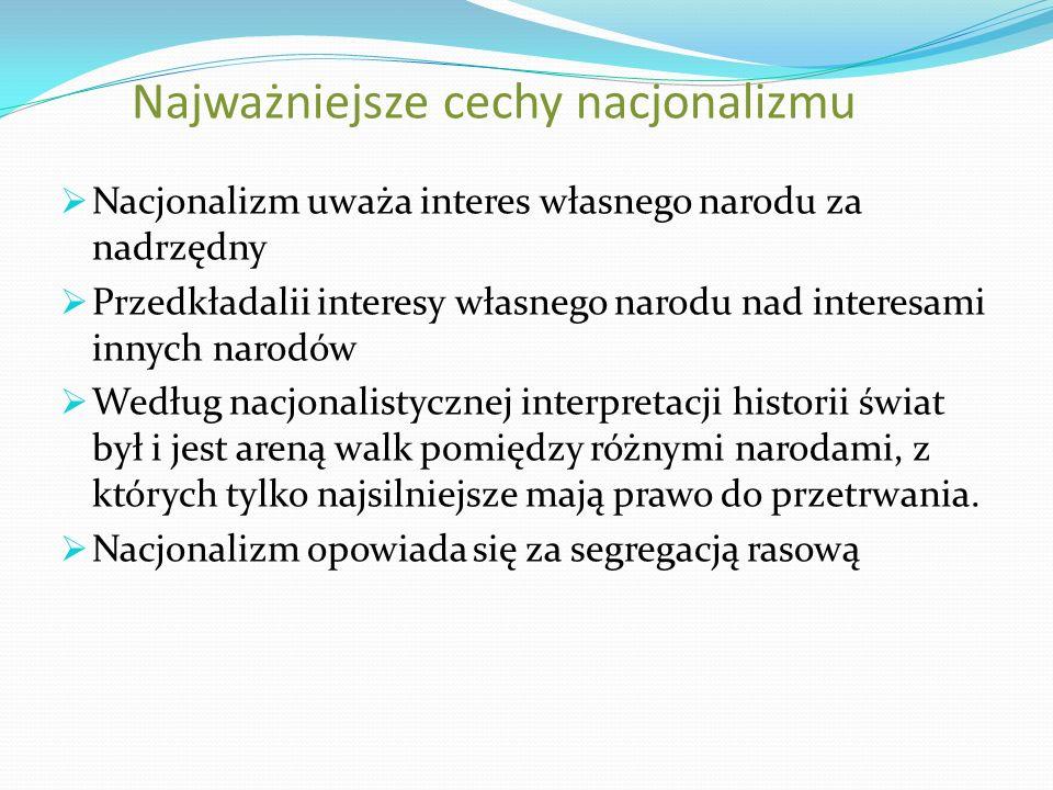 Najważniejsze cechy nacjonalizmu Nacjonalizm uważa interes własnego narodu za nadrzędny Przedkładalii interesy własnego narodu nad interesami innych n