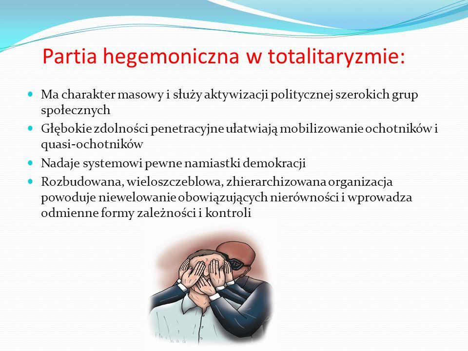 Partia hegemoniczna w totalitaryzmie: Ma charakter masowy i służy aktywizacji politycznej szerokich grup społecznych Głębokie zdolności penetracyjne u