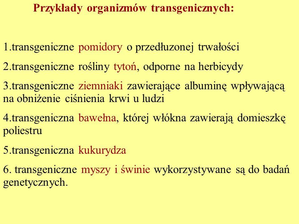 Przykłady organizmów transgenicznych: 1.transgeniczne pomidory o przedłuzonej trwałości 2.transgeniczne rośliny tytoń, odporne na herbicydy 3.transgen
