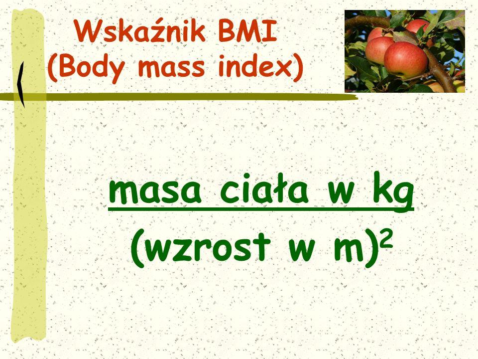 Wskaźnik BMI (Body mass index) masa ciała w kg (wzrost w m) 2