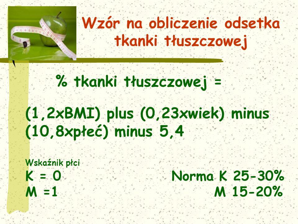 Wzór na obliczenie odsetka tkanki tłuszczowej % tkanki tłuszczowej = (1,2xBMI) plus (0,23xwiek) minus (10,8xpłeć) minus 5,4 Wskaźnik płci K = 0 Norma K 25-30% M =1 M 15-20%