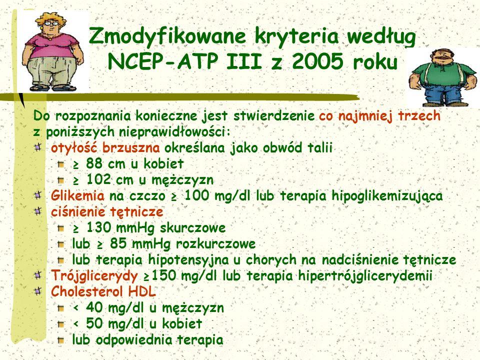 Zmodyfikowane kryteria według NCEP-ATP III z 2005 roku Do rozpoznania konieczne jest stwierdzenie co najmniej trzech z poniższych nieprawidłowości: otyłość brzuszna określana jako obwód talii 88 cm u kobiet 102 cm u mężczyzn Glikemia na czczo 100 mg/dl lub terapia hipoglikemizująca ciśnienie tętnicze 130 mmHg skurczowe lub 85 mmHg rozkurczowe lub terapia hipotensyjna u chorych na nadciśnienie tętnicze Trójglicerydy 150 mg/dl lub terapia hipertrójglicerydemii Cholesterol HDL < 40 mg/dl u mężczyzn < 50 mg/dl u kobiet lub odpowiednia terapia