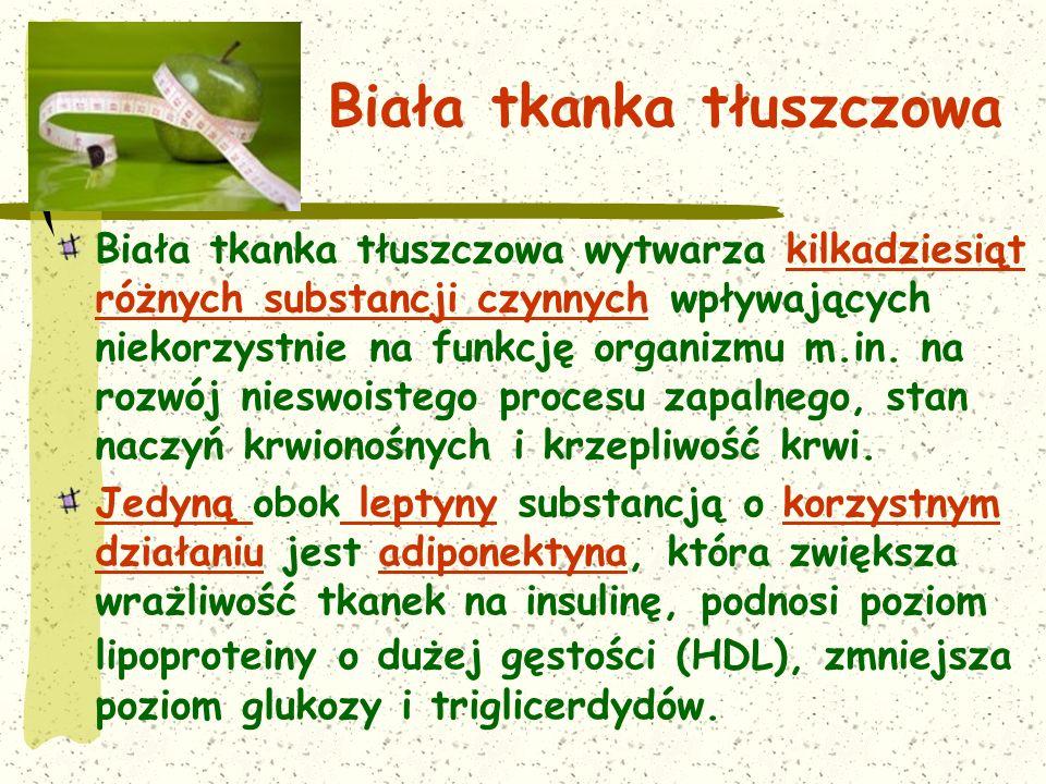 Biała tkanka tłuszczowa Biała tkanka tłuszczowa wytwarza kilkadziesiąt różnych substancji czynnych wpływających niekorzystnie na funkcję organizmu m.in.