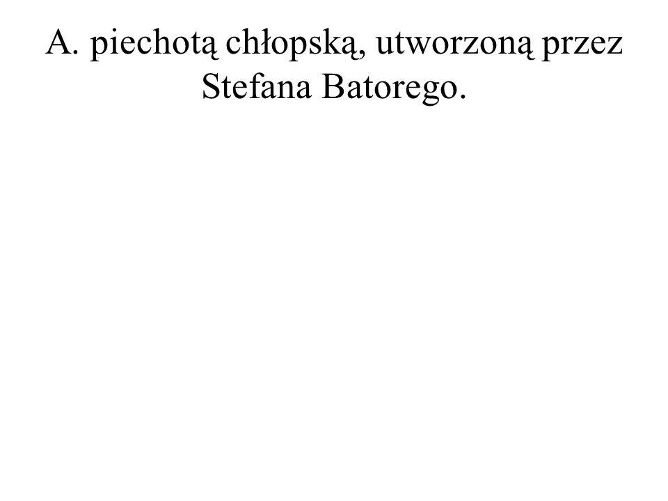 A. piechotą chłopską, utworzoną przez Stefana Batorego.