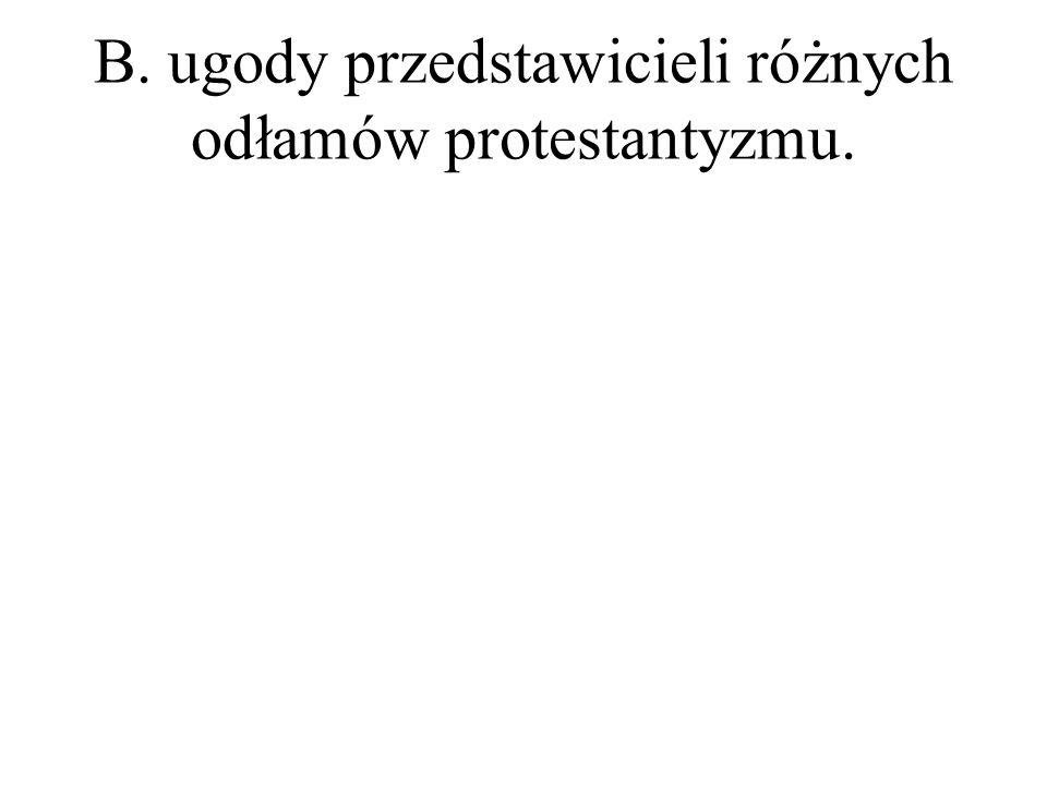 B. ugody przedstawicieli różnych odłamów protestantyzmu.