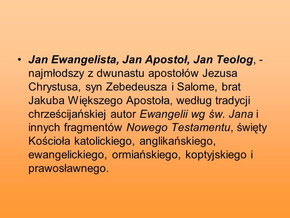 Jan Ewangelista, Jan Apostoł, Jan Teolog, - najmłodszy z dwunastu apostołów Jezusa Chrystusa, syn Zebedeusza i Salome, brat Jakuba Większego Apostoła,