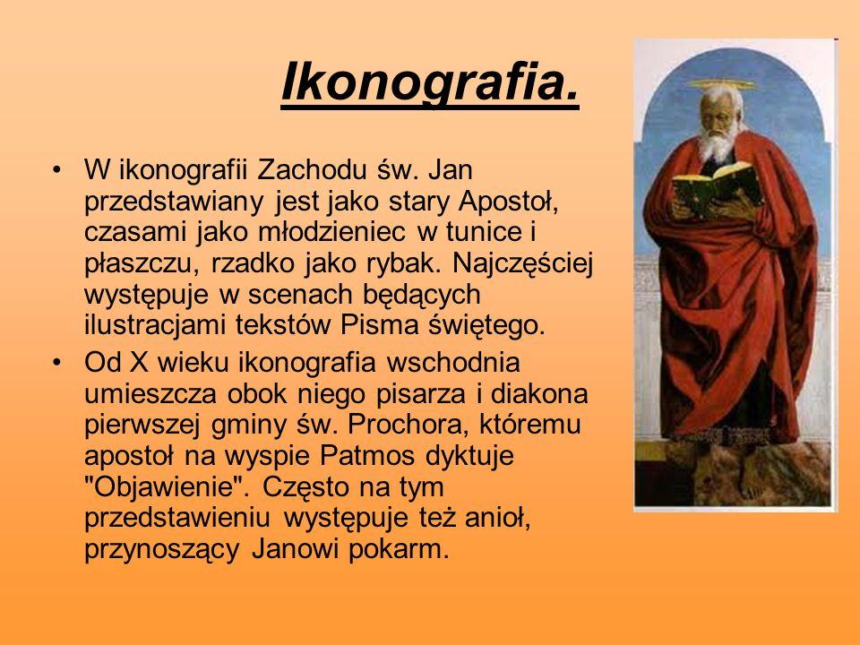 Ikonografia. W ikonografii Zachodu św. Jan przedstawiany jest jako stary Apostoł, czasami jako młodzieniec w tunice i płaszczu, rzadko jako rybak. Naj