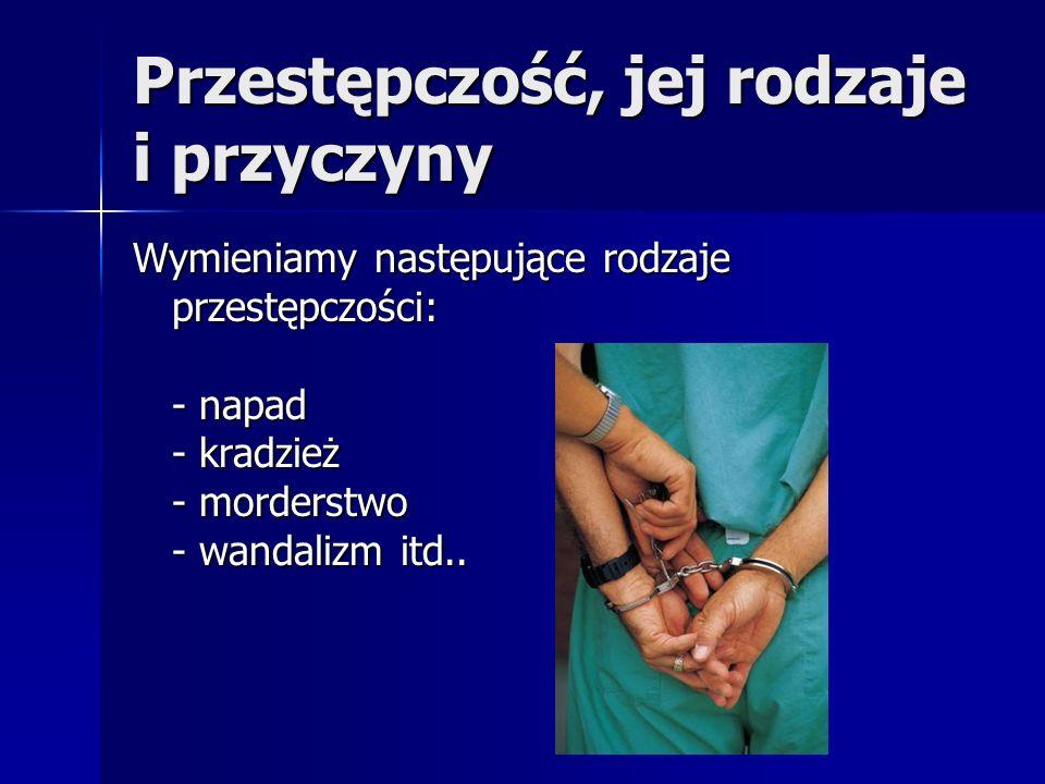Przestępczość, jej rodzaje i przyczyny Wymieniamy następujące rodzaje przestępczości: - napad - kradzież - morderstwo - wandalizm itd..