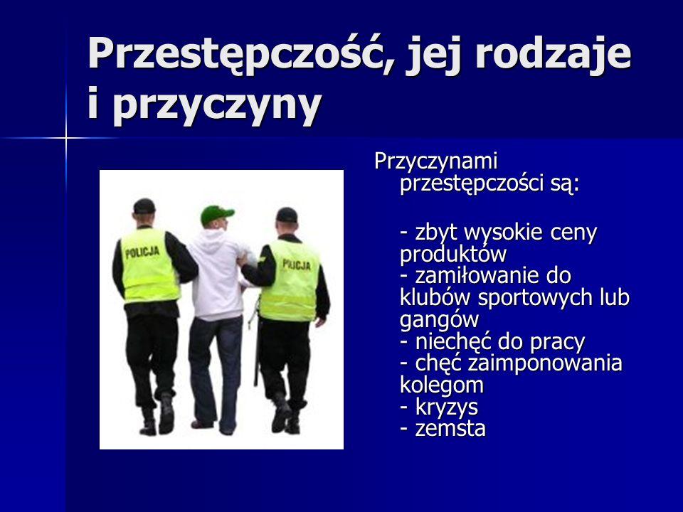 Przestępczość, jej rodzaje i przyczyny Przyczynami przestępczości są: - zbyt wysokie ceny produktów - zamiłowanie do klubów sportowych lub gangów - ni