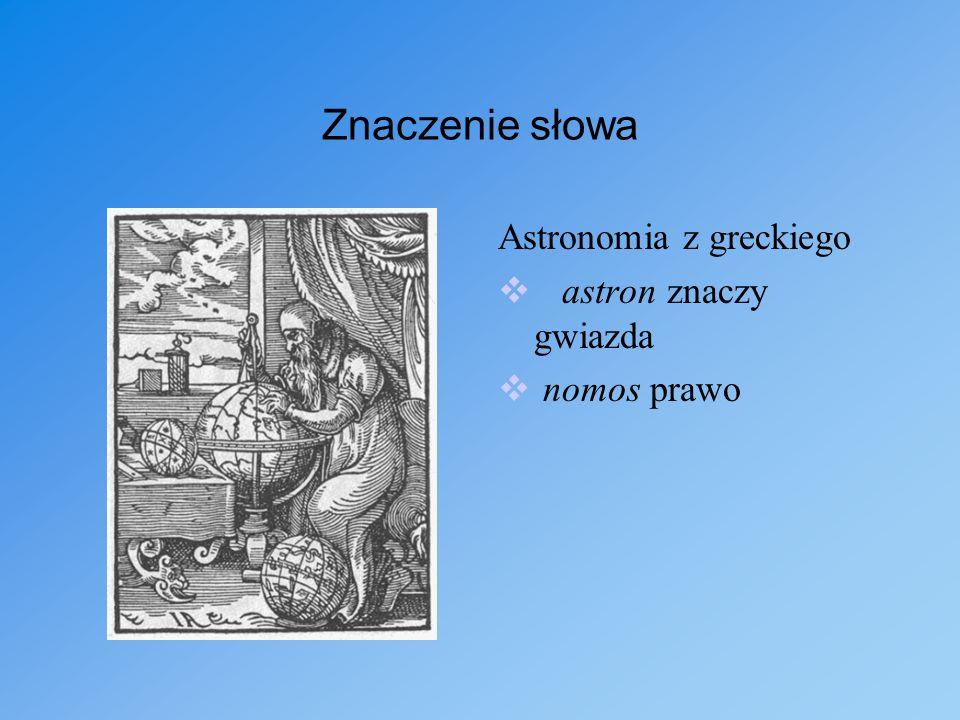 Znaczenie słowa Astronomia z greckiego astron znaczy gwiazda nomos prawo