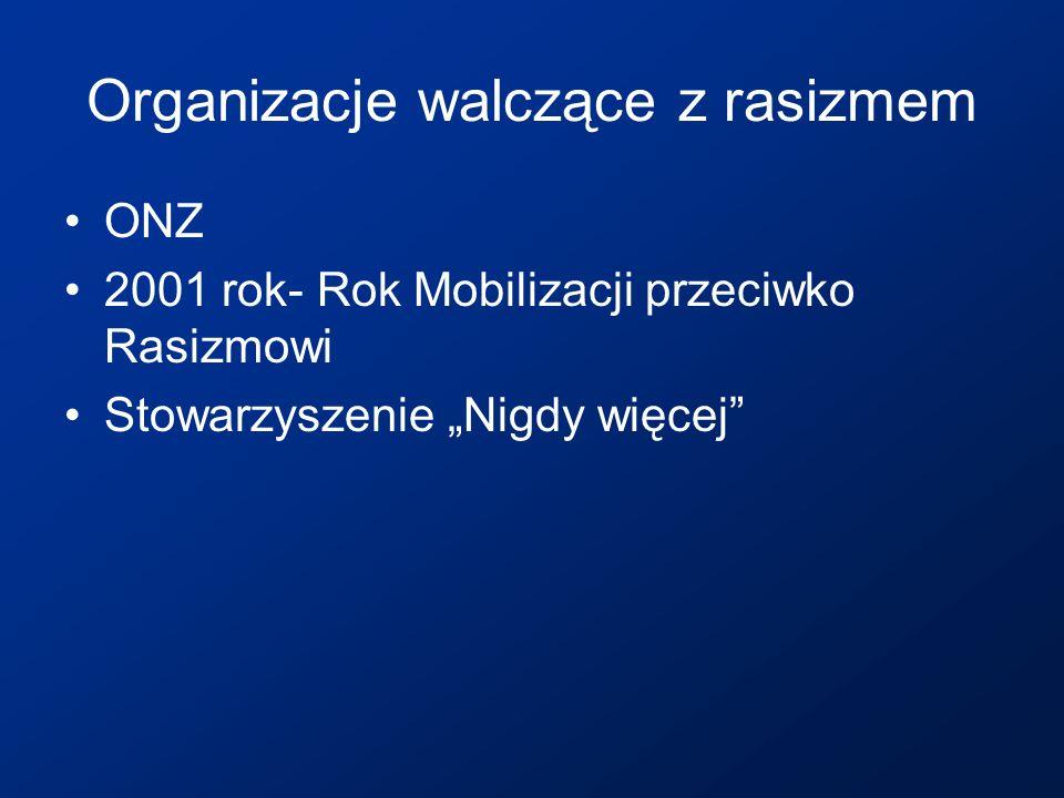 Organizacje walczące z rasizmem ONZ 2001 rok- Rok Mobilizacji przeciwko Rasizmowi Stowarzyszenie Nigdy więcej