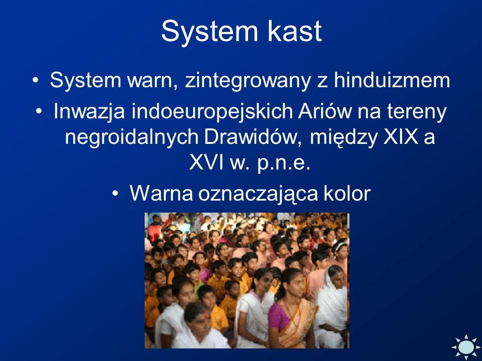 System kast System warn, zintegrowany z hinduizmem Inwazja indoeuropejskich Ariów na tereny negroidalnych Drawidów, między XIX a XVI w. p.n.e. Warna o