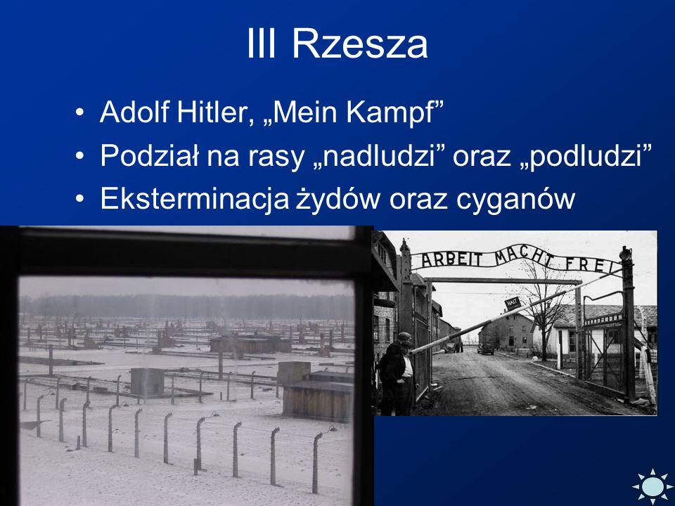 III Rzesza Adolf Hitler, Mein Kampf Podział na rasy nadludzi oraz podludzi Eksterminacja żydów oraz cyganów