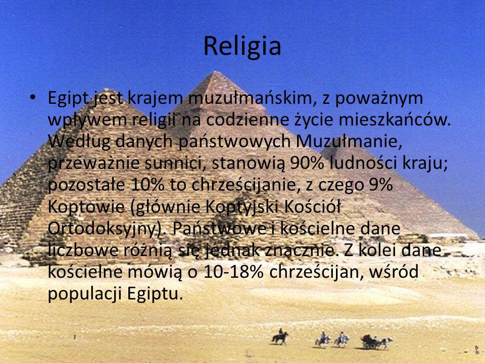 Religia Egipt jest krajem muzułmańskim, z poważnym wpływem religii na codzienne życie mieszkańców. Według danych państwowych Muzułmanie, przeważnie su