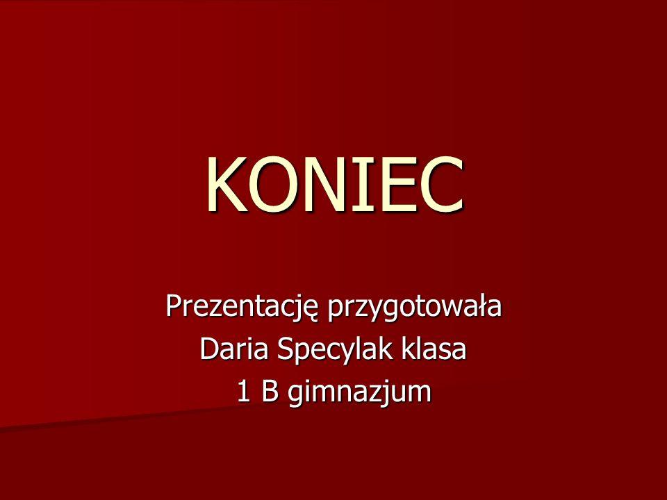 KONIEC Prezentację przygotowała Daria Specylak klasa 1 B gimnazjum