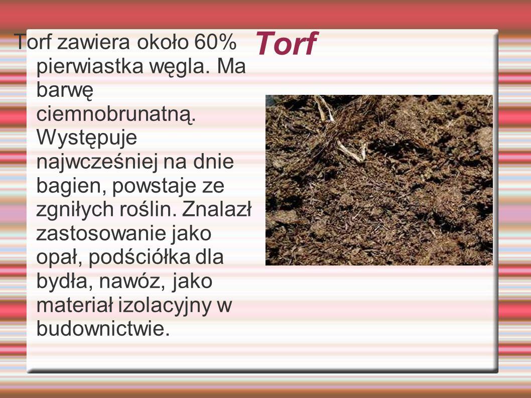 Torf Torf zawiera około 60% pierwiastka węgla. Ma barwę ciemnobrunatną. Występuje najwcześniej na dnie bagien, powstaje ze zgniłych roślin. Znalazł za
