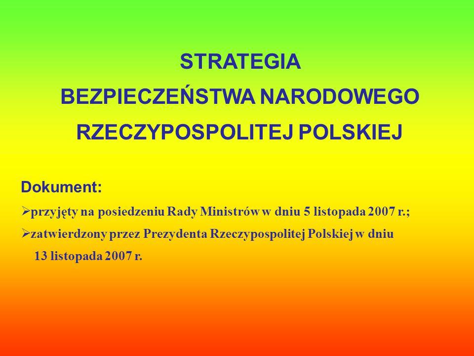 STRATEGIA BEZPIECZEŃSTWA NARODOWEGO RZECZYPOSPOLITEJ POLSKIEJ Dokument: przyjęty na posiedzeniu Rady Ministrów w dniu 5 listopada 2007 r.; zatwierdzon