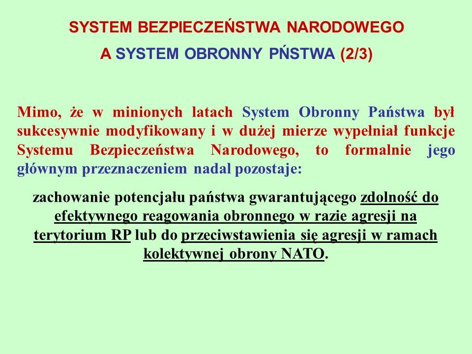 Mimo, że w minionych latach System Obronny Państwa był sukcesywnie modyfikowany i w dużej mierze wypełniał funkcje Systemu Bezpieczeństwa Narodowego,