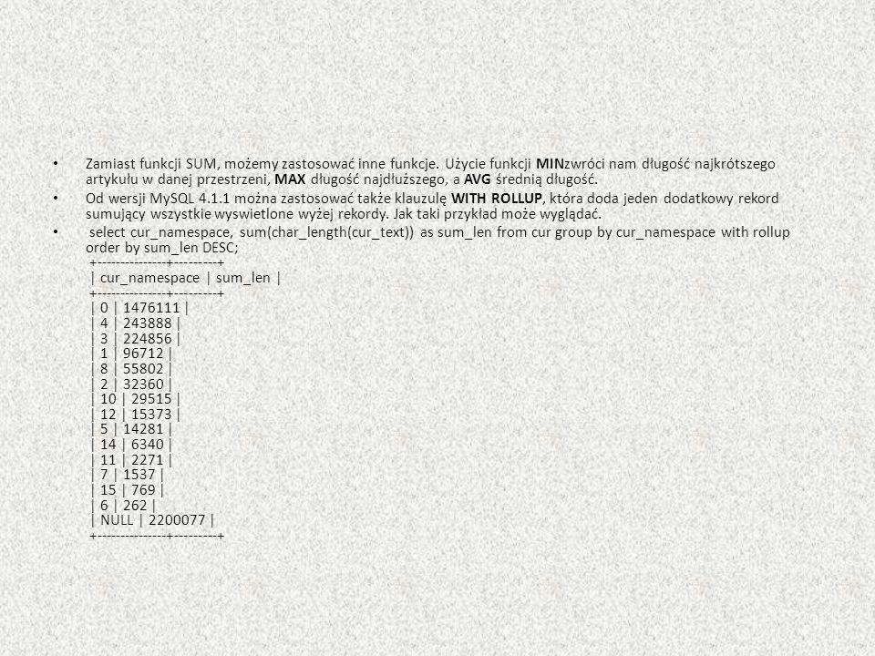 Zamiast funkcji SUM, możemy zastosować inne funkcje. Użycie funkcji MINzwróci nam długość najkrótszego artykułu w danej przestrzeni, MAX długość najdł