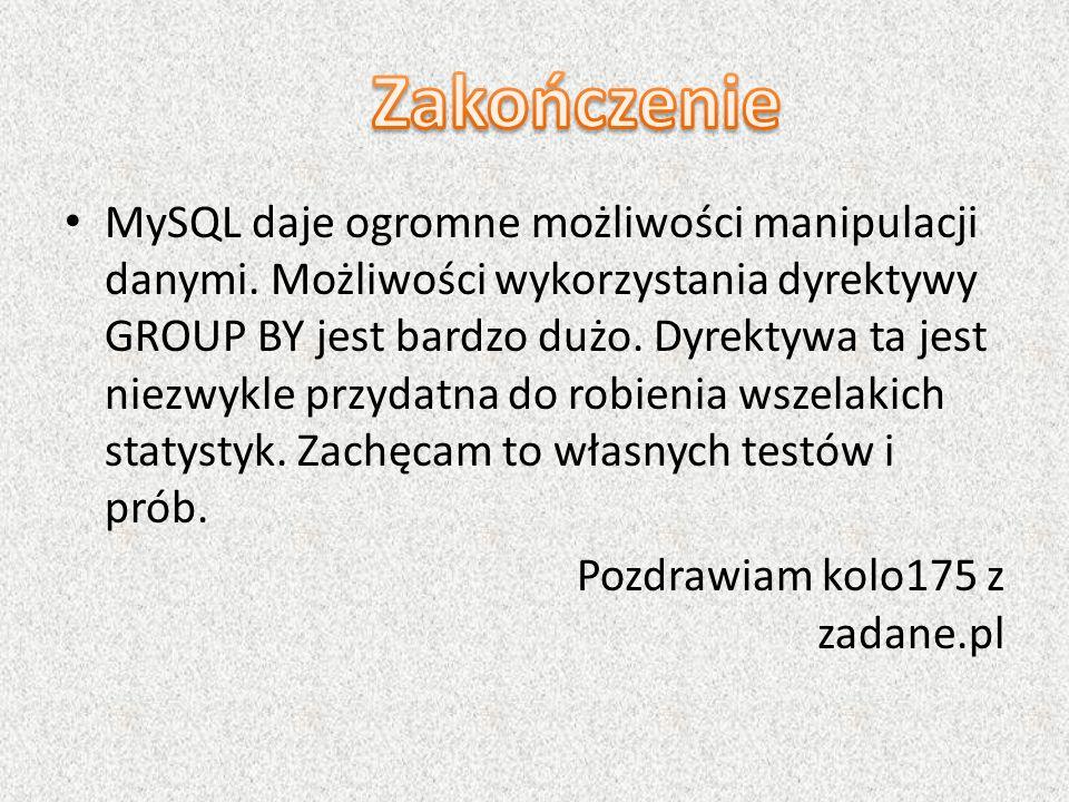 MySQL daje ogromne możliwości manipulacji danymi. Możliwości wykorzystania dyrektywy GROUP BY jest bardzo dużo. Dyrektywa ta jest niezwykle przydatna