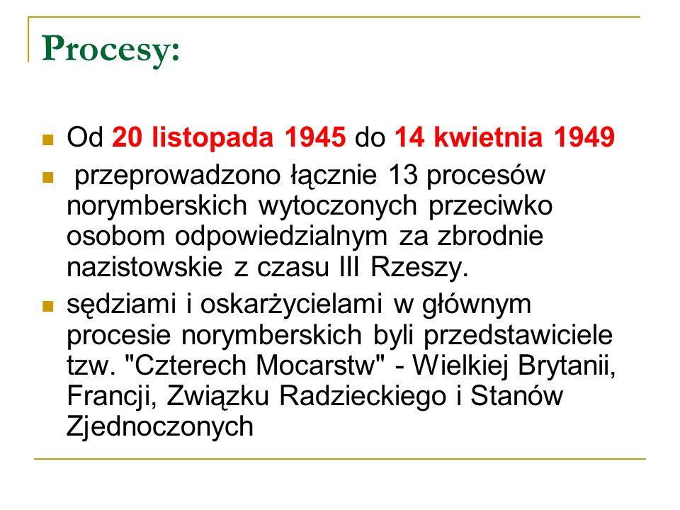 Procesy: Od 20 listopada 1945 do 14 kwietnia 1949 przeprowadzono łącznie 13 procesów norymberskich wytoczonych przeciwko osobom odpowiedzialnym za zbr