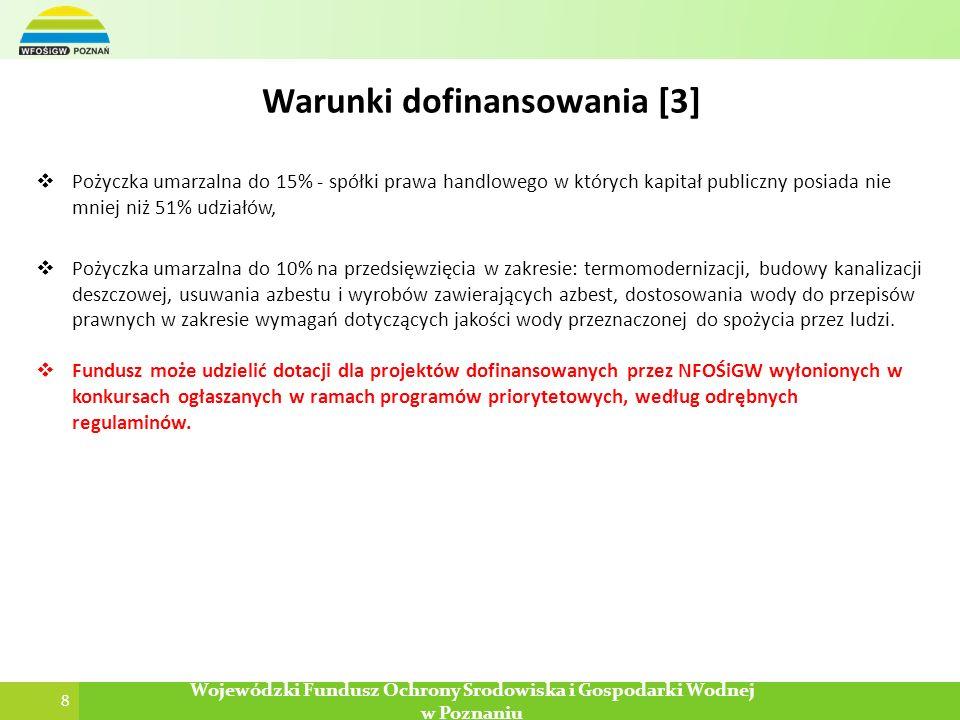 8 Wojewódzki Fundusz Ochrony Środowiska i Gospodarki Wodnej w Poznaniu Pożyczka umarzalna do 15% - spółki prawa handlowego w których kapitał publiczny