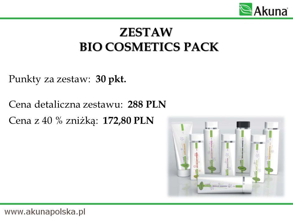 ZESTAW BIO COSMETICS PACK Punkty za zestaw: 30 pkt. Cena detaliczna zestawu: 288 PLN Cena z 40 % zniżką: 172,80 PLN
