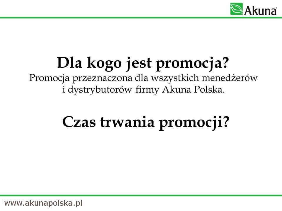 Dla kogo jest promocja? Promocja przeznaczona dla wszystkich menedżerów i dystrybutorów firmy Akuna Polska. Czas trwania promocji?