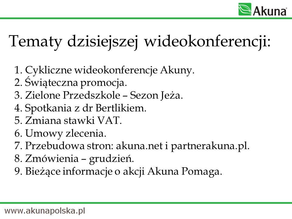 Tematy dzisiejszej wideokonferencji: 1. Cykliczne wideokonferencje Akuny. 2. Świąteczna promocja. 3. Zielone Przedszkole – Sezon Jeża. 4. Spotkania z