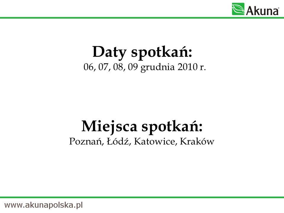 Miejsca spotkań: Poznań, Łódź, Katowice, Kraków