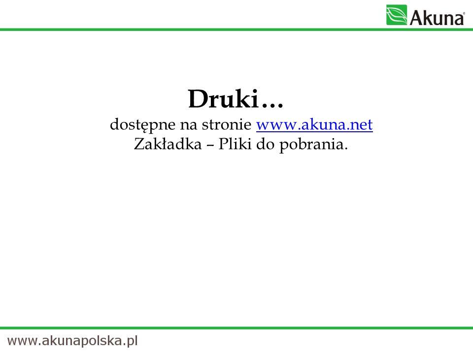 Druki… dostępne na stronie www.akuna.net Zakładka – Pliki do pobrania. www.akuna.net